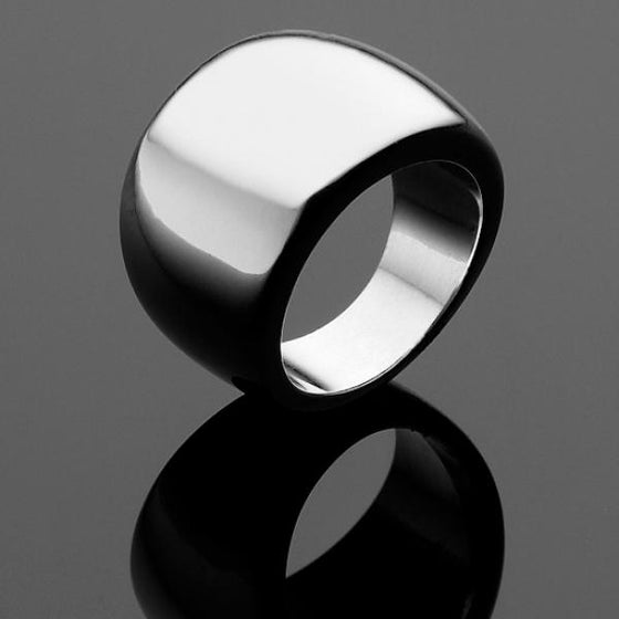 A BUNDA 'Dome' Ring in Polished Finished Silver