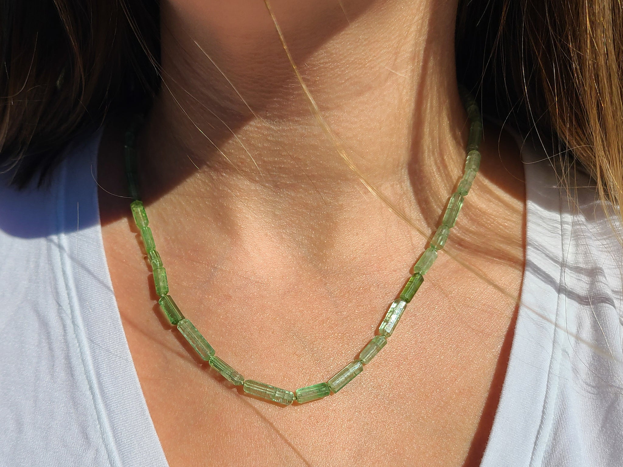Green Opal Gemstone Candy Necklace    Knotted Gemstone Necklace   Beaded Necklace