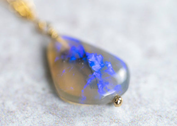 Lightning Ridge Black Opal Drop Necklace