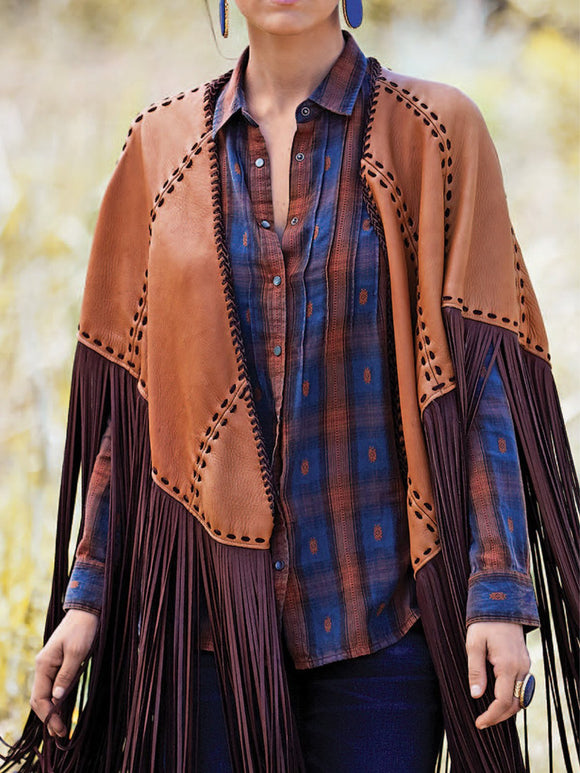 Western Colorful Fringe Cape Outwear