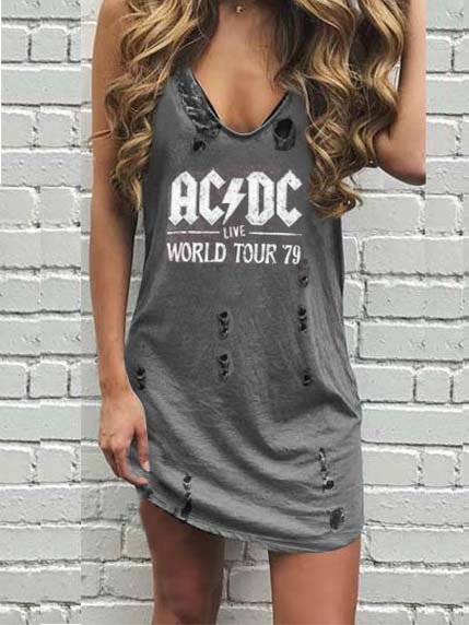 Women Dresses Casual Sleeveless Cotton Letter Printed ACDC