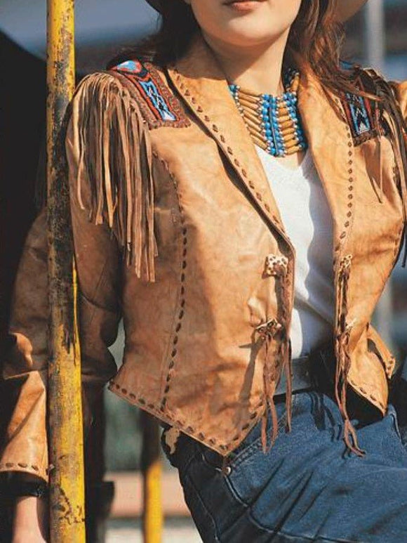 Boho Leather Tassel Jacket