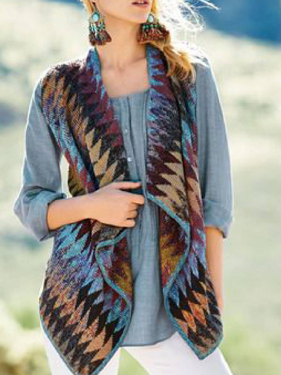 Blue Sleeveless Knitted Color-Block Shawl Collar Outerwear