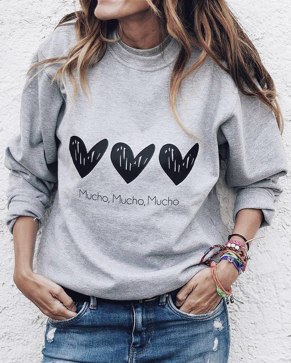 Casual Crew Neck Long Sleeve  Printed Tops