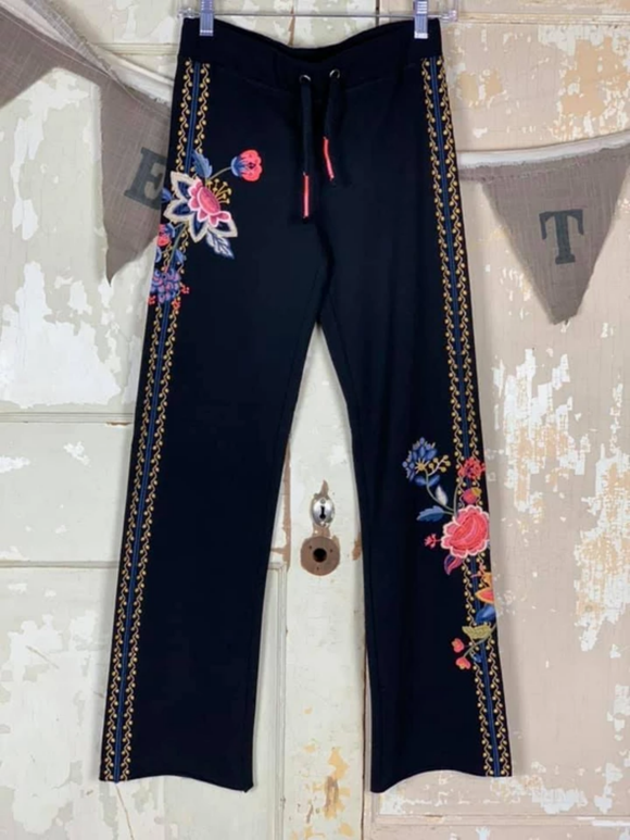 Black Floral Casual Pants