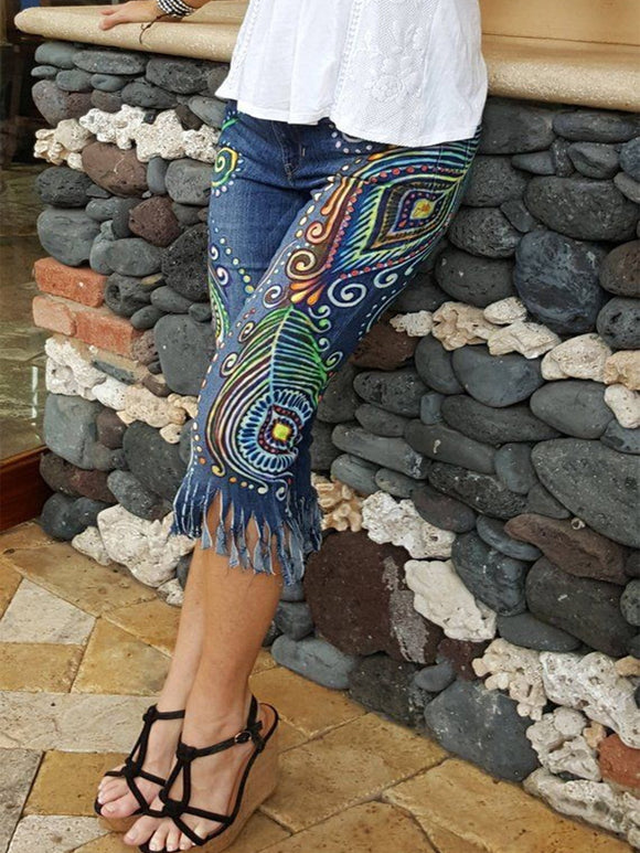 Women Jeans Boho Plus Size Casual Floral Denim