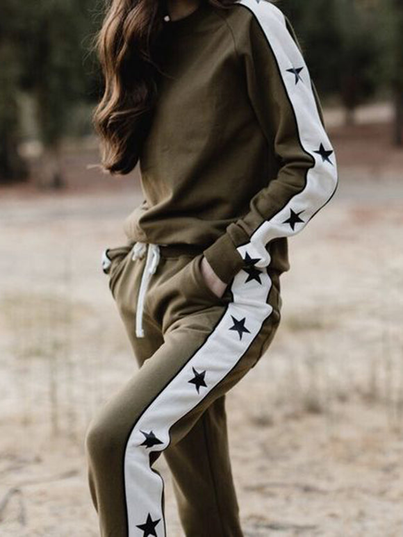 Casual Star Crew Neck Women's Sets