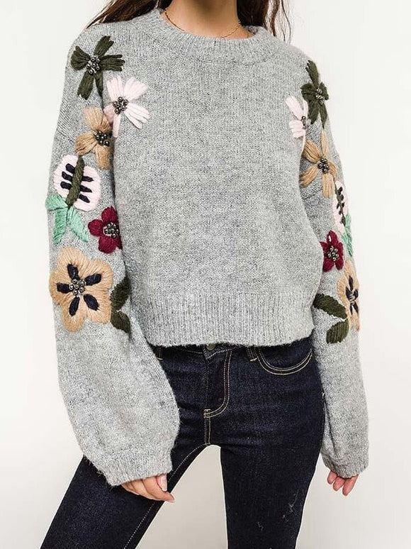Crew Neck Flowers-Printed Daily Outerwear