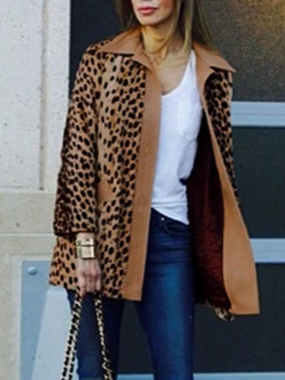 Winter Warm Loose Leopard Outerwear Plush Coat