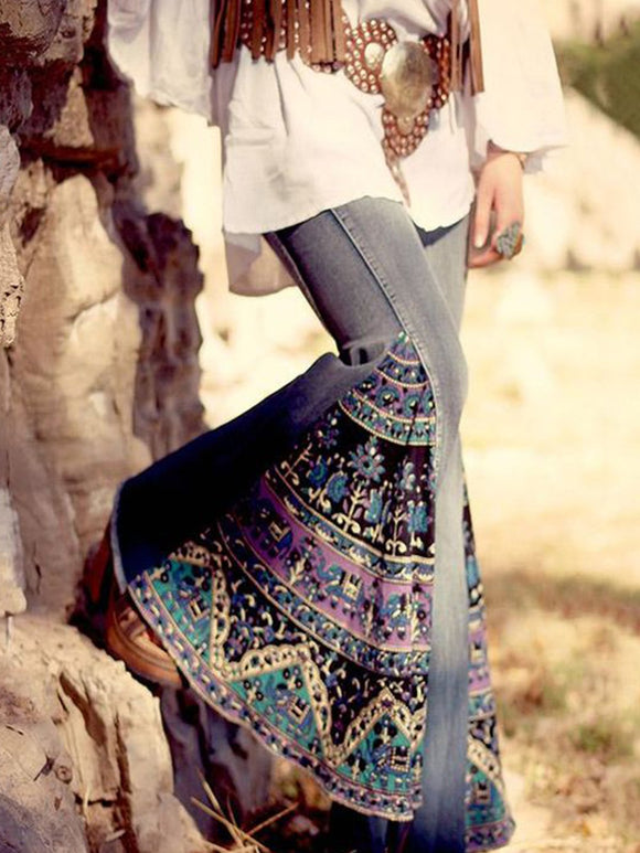 Women Pants Printed Patchwork Casual Cotton-Blend Boho