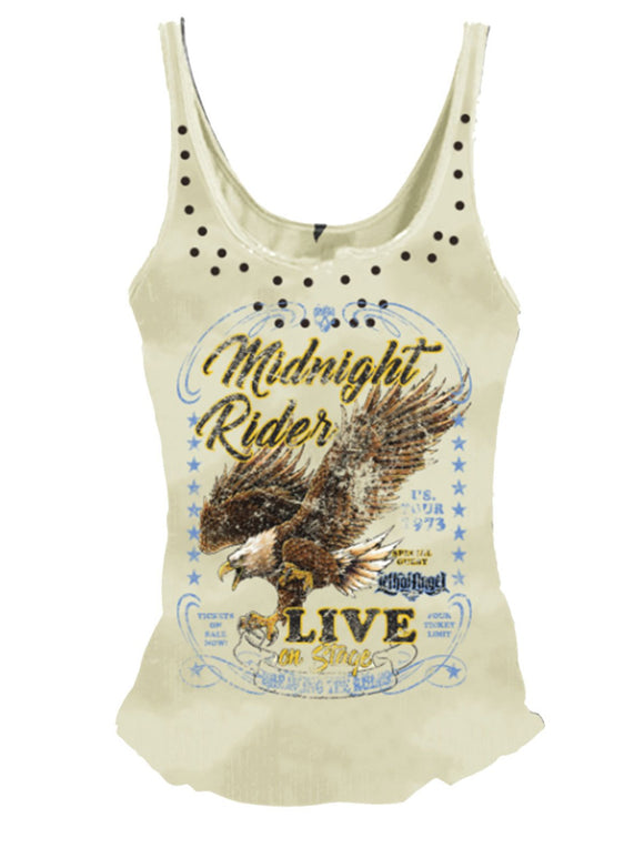 Women Tank Sleeveless Round Neck Plus Size Midnight Rider Printed