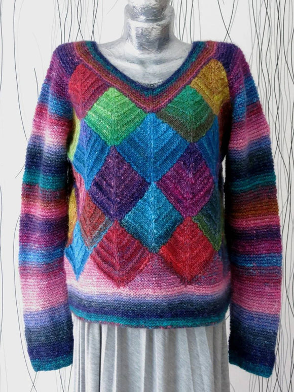 Multicolor V Neck Long Sleeve Sweater