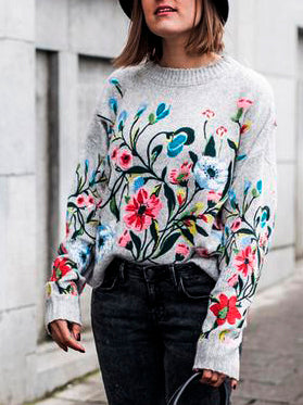 Floral Shift Knitted Casual Shirts & Tops