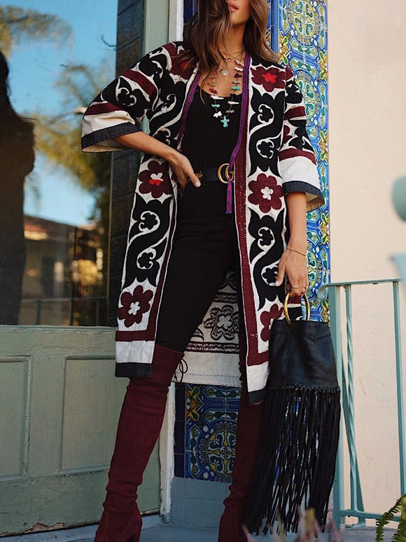 Boho Cotton-Blend Tribal Outerwear