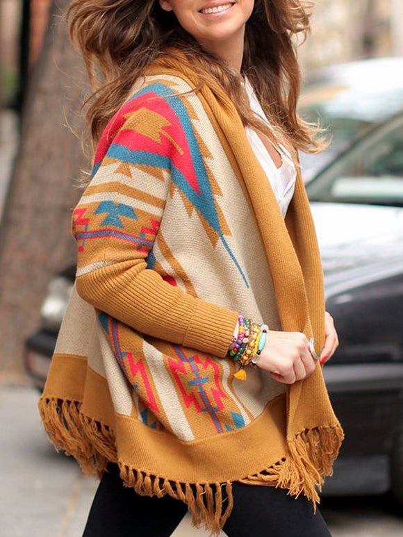 Printed Long Sleeve Knitted Patchwork Outerwear
