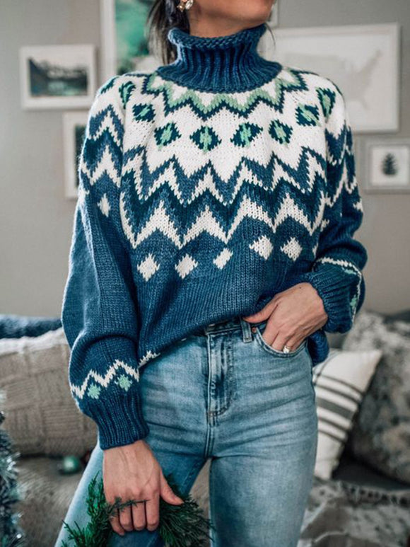 Blue Geometric Knitted Turtleneck Vintage Sweater