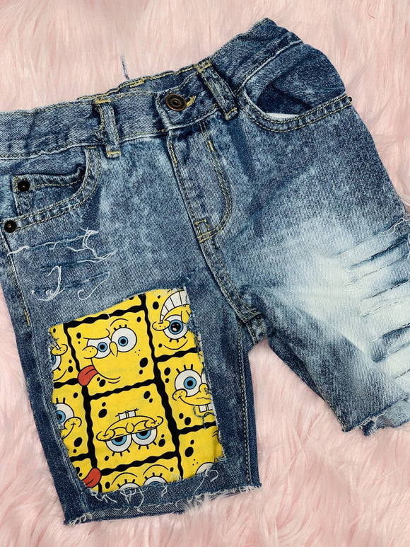 Plus Size Spongebob Print Patchwork Women Denim Shorts