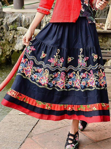 Navy Blue Floral Vintage Skirts