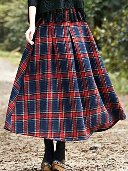 Blue Cotton-Blend Casual Checkered/plaid Skirts