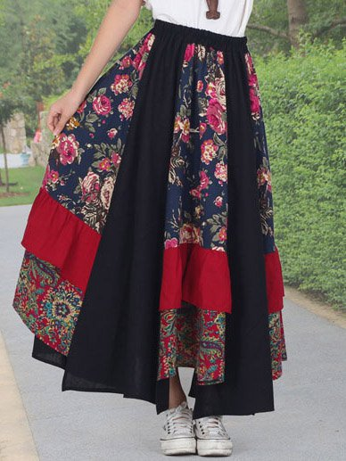 Navy Blue Floral Casual Skirts
