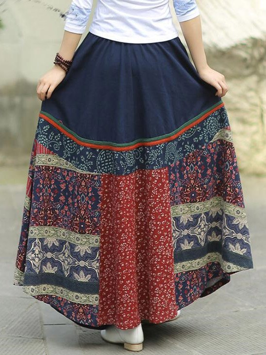 Navy Blue Geometric Casual Skirts