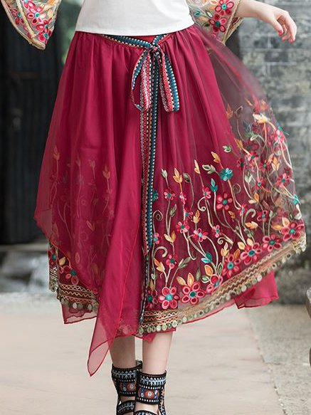 Red Boho Tulle Floral Skirts