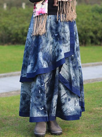 Blue Cotton-Blend Ombre/tie-Dye Casual Skirts