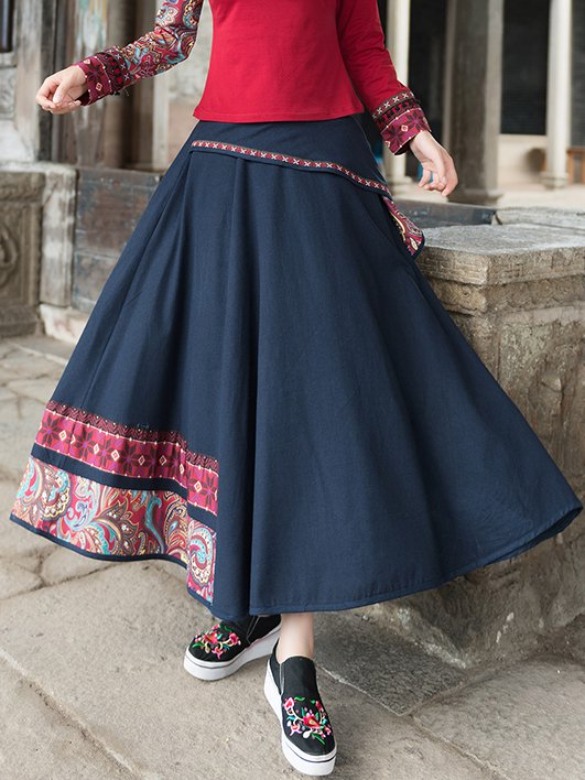 Navy Blue Casual Floral Skirts