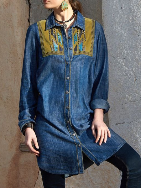 Blue Denim Casual Shirts & Tops