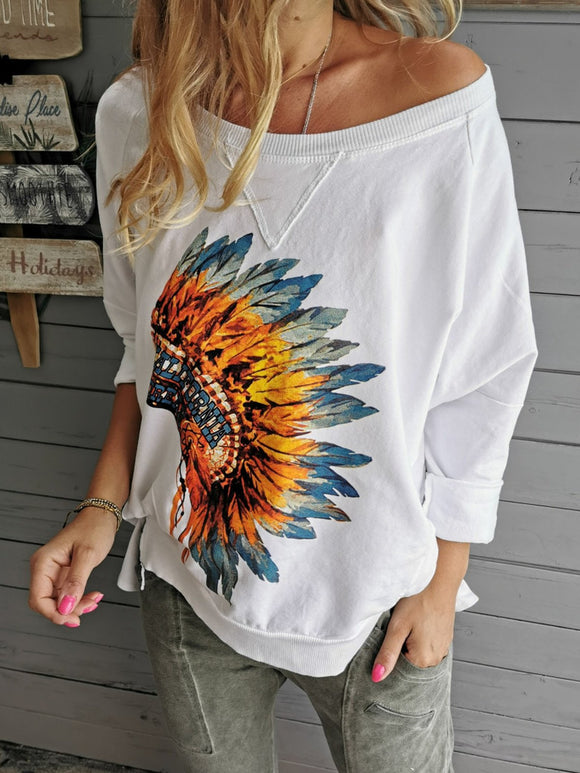 Women Sweatshirt Aztec White Cotton-Blend Casual