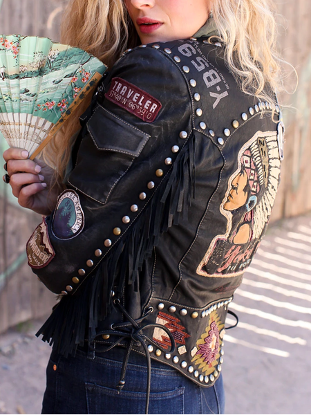 Women Jacket Black Casual Leather Aztec
