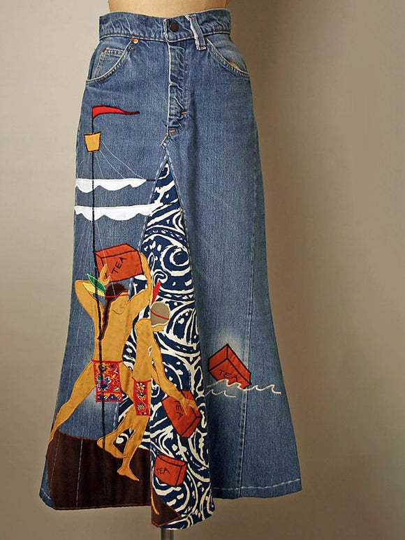 Print stitching denim skirt