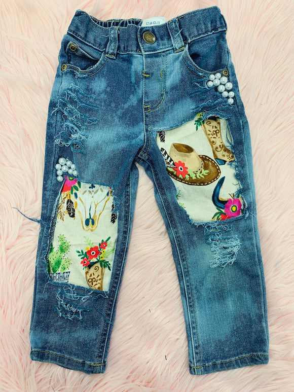 Plus Size Patchwork Print Women Denim Pants Jeans