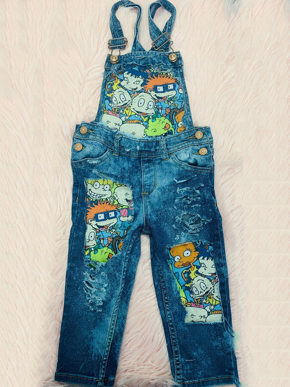 Plus Size Print Patchwork Women Denim Overalls