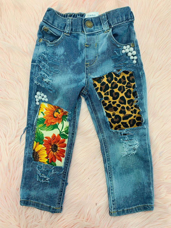 Plus Size Artwork Leopard Patchwork Women Jeans