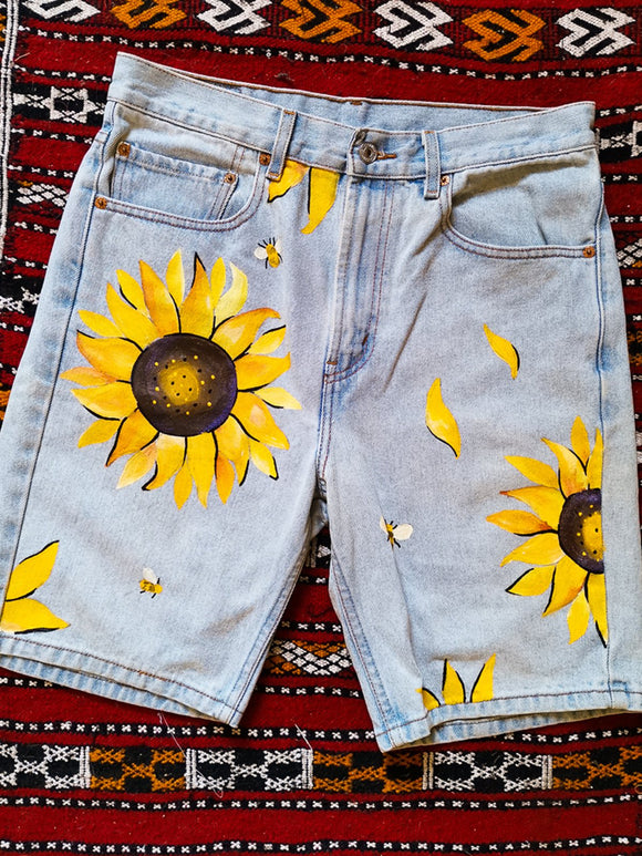 Plus Size Floral Print Women Denim Shorts