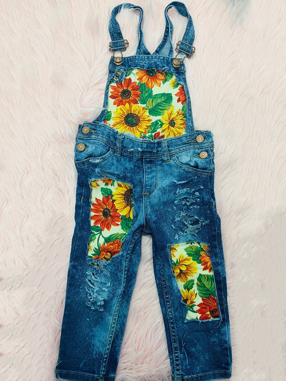 Plus Size Artwork Print Patchwork Women Denim Overalls