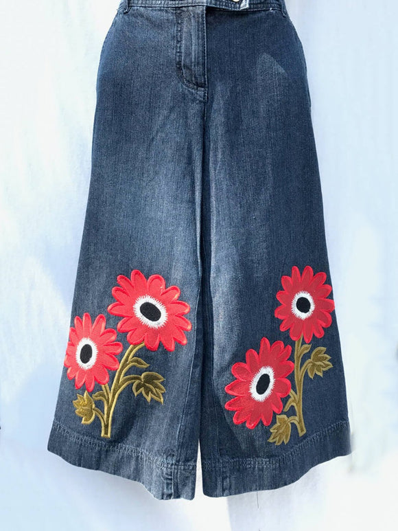 Dark Blue Printed Casual Floral Pants