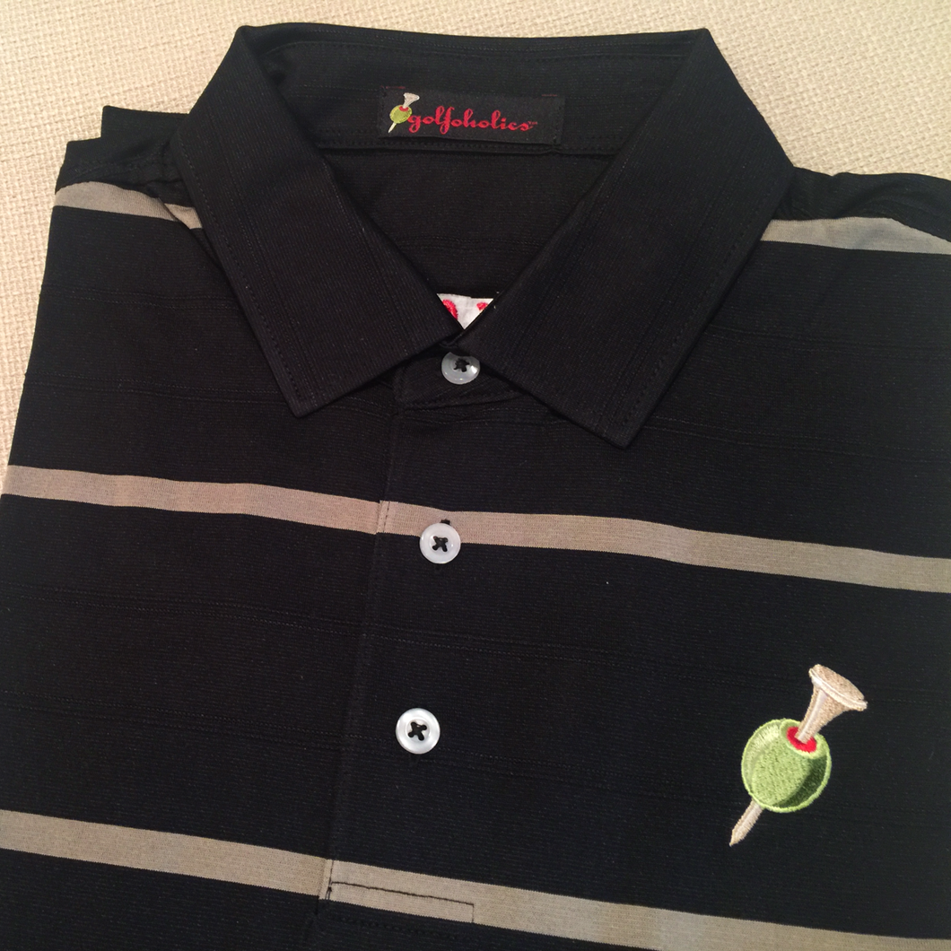 Golfoholics Black & Tan Stripe Polo