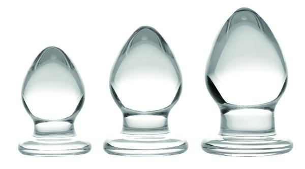 3 Piece Glass Anal Plug Kit