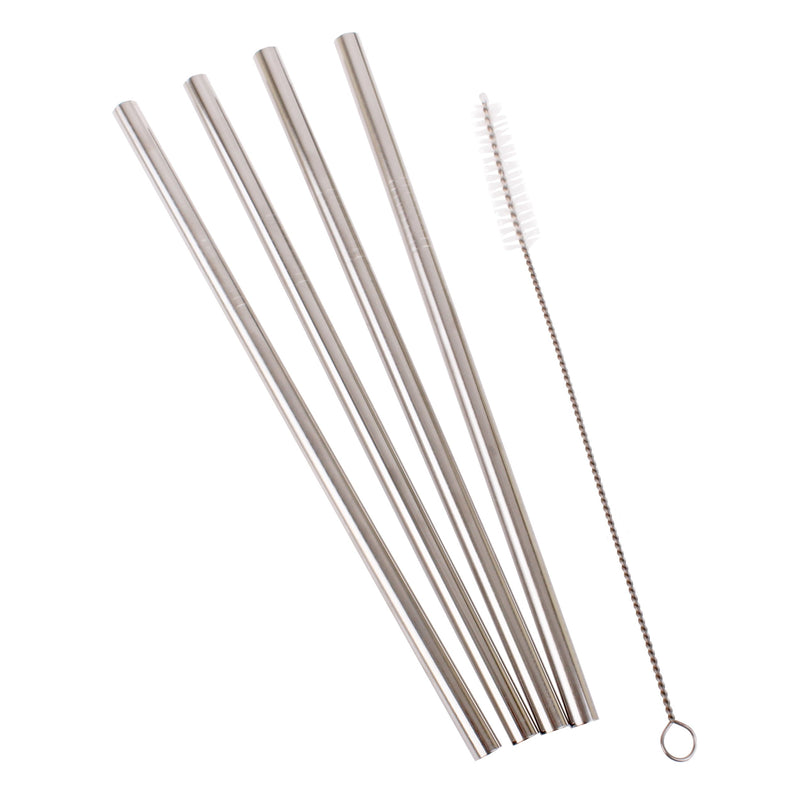 Appetito set/4 straight stainless steel smoothie straws w/brush