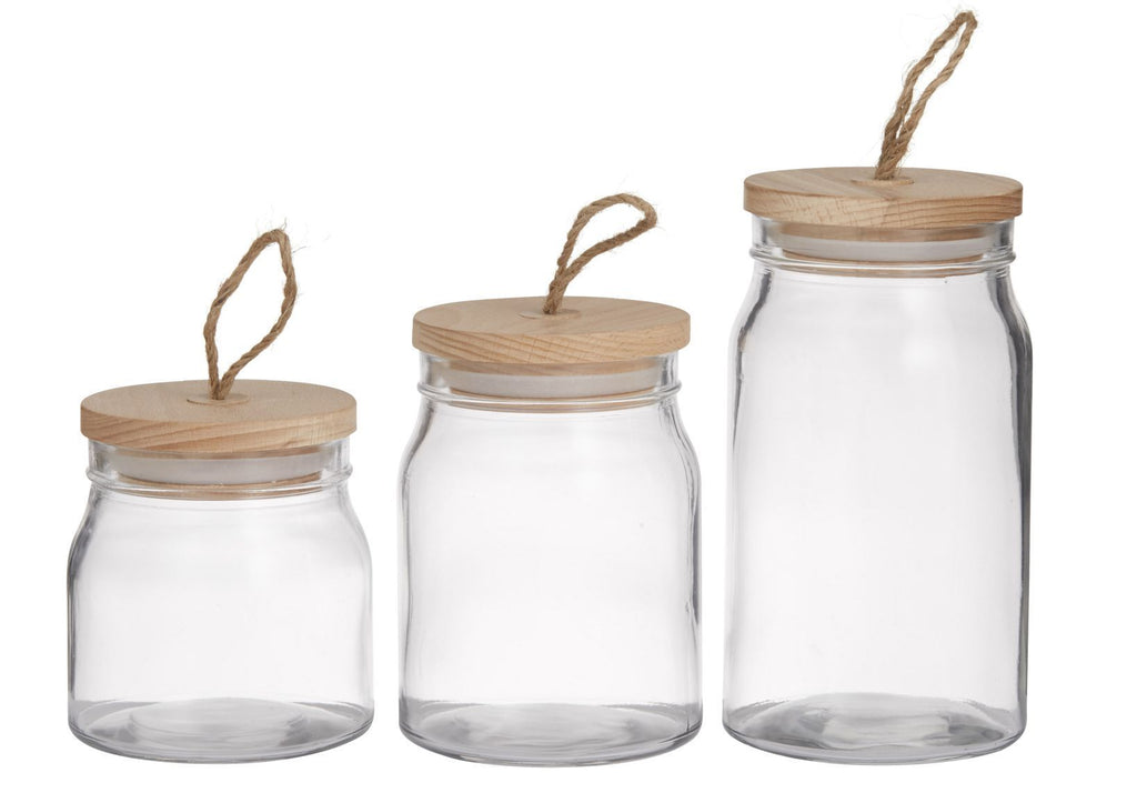 GLASS ROUND STORAGE CANISTER WITH WOOD LID SET/3