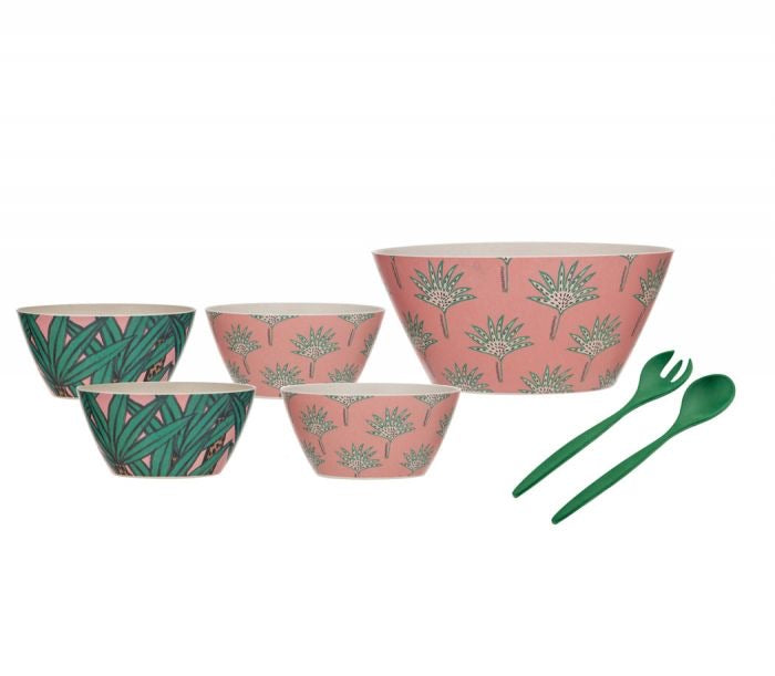 JUNGLE RUMBLE BAMBOO FIBRE SALAD SERVING SET 7PCE