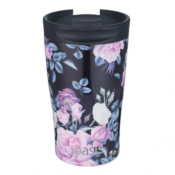 OASIS S/S DOUBLE WALL INSULATED TRAVEL CUP 350ML - MIDNIGHT FLORAL