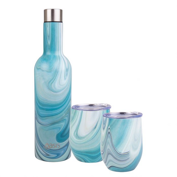 OASIS 3 PIECE S/S DOUBLE WALL INSULATED WINE TRAVELLER GIFT SET - WHITEHAVEN