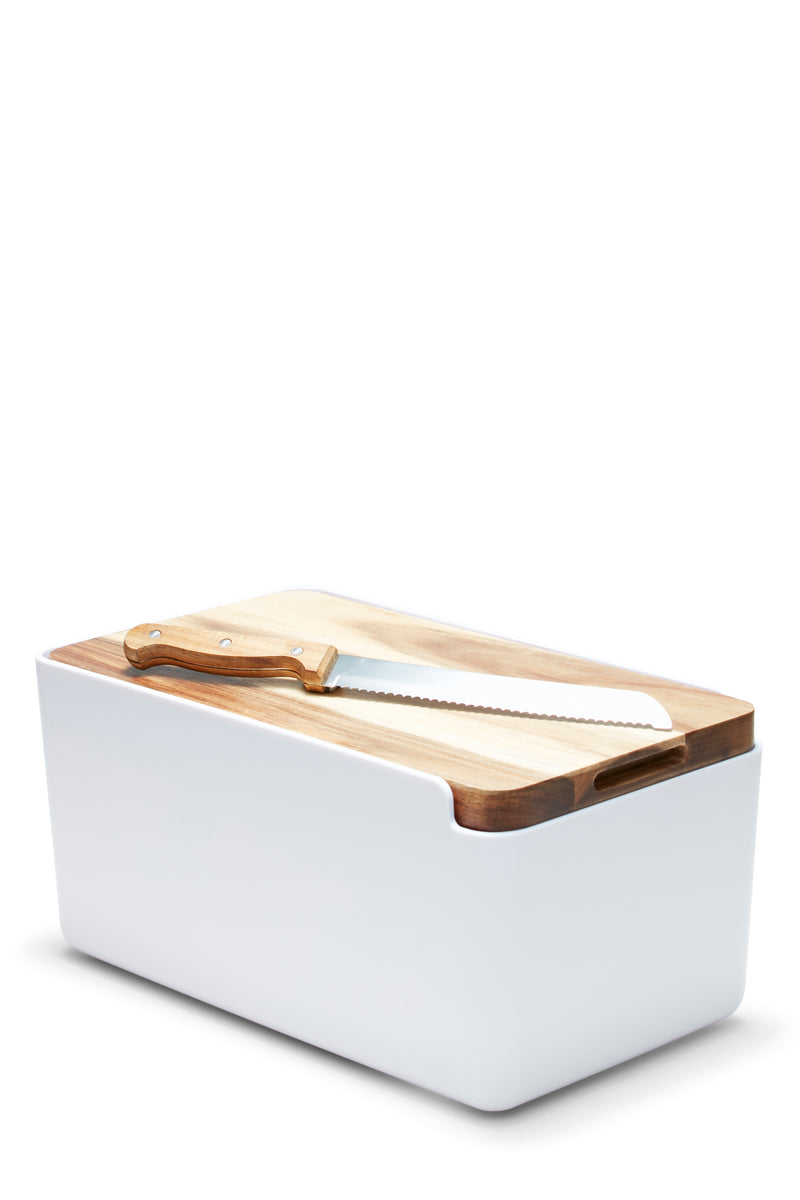 S&P HUDSON BREAD BIN WHITE W/ WOODEN CUTTING BOARD LID