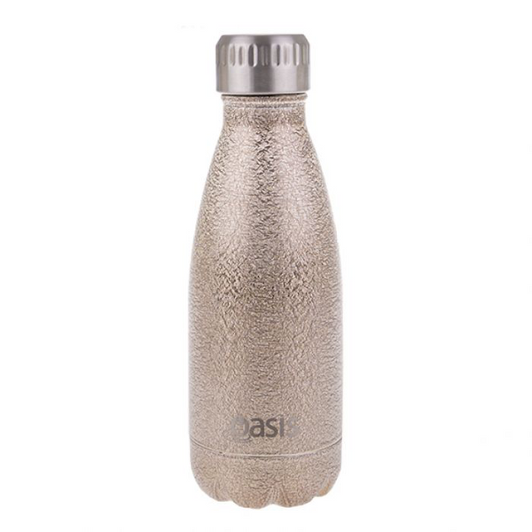 "OASIS ""SHIMMER"" S/S DOUBLE WALL INSULATED DRINK BOTTLE 350ML - CHAMPAGNE"