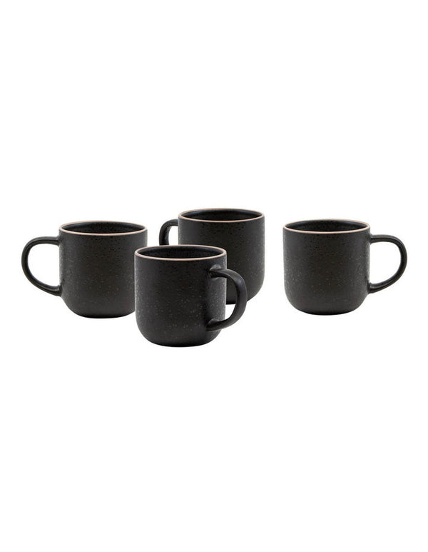 Hana black mugs set/4