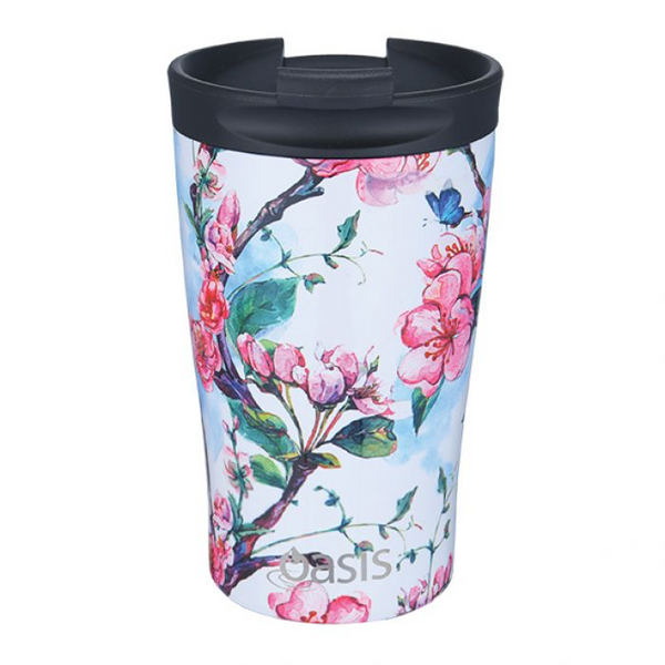 "OASIS S/S DOUBLE WALL INSULATED ""TRAVEL CUP"" 350ML - SPRING BLOSSOM"