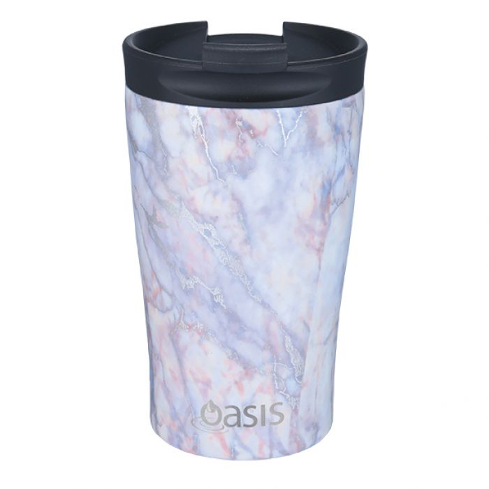 "OASIS S/S DOUBLE WALL INSULATED ""TRAVEL CUP"" 350ML - SILVER QUARTZ"